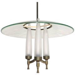 1940s Italian Curved Glass Pendant in the Manner of Fontana Arte