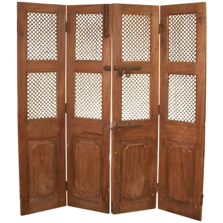 Set of Teak Wood and Iron Doors