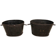 Pair of Diamond-Design French Steel Grape Bucket Planters