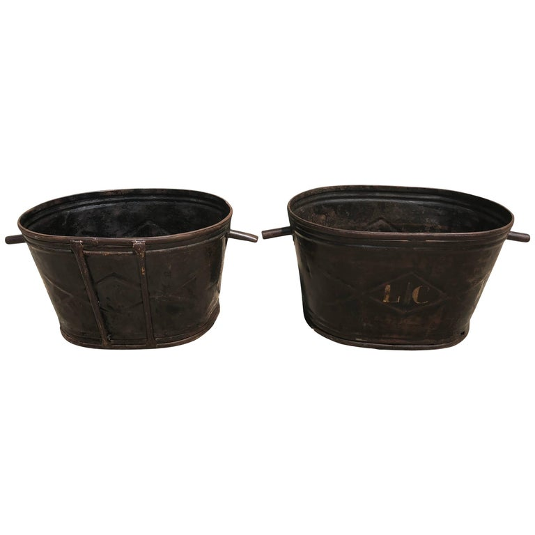Pair of Diamond-Design French Steel Grape Bucket Planters For Sale