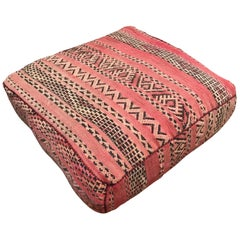 Moroccan Floor Pillow Tribal Seat Cushion Made from a Vintage Berber Rug