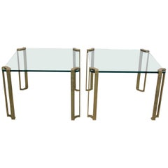 Spectacular Set of Peter Ghyczy Brass and Glass Side Tables