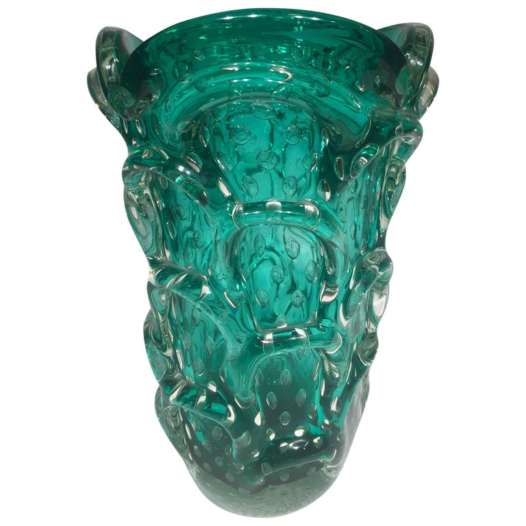 Murano Artistic Blown Glass Cactus Vase Emerald Green Circa 1950