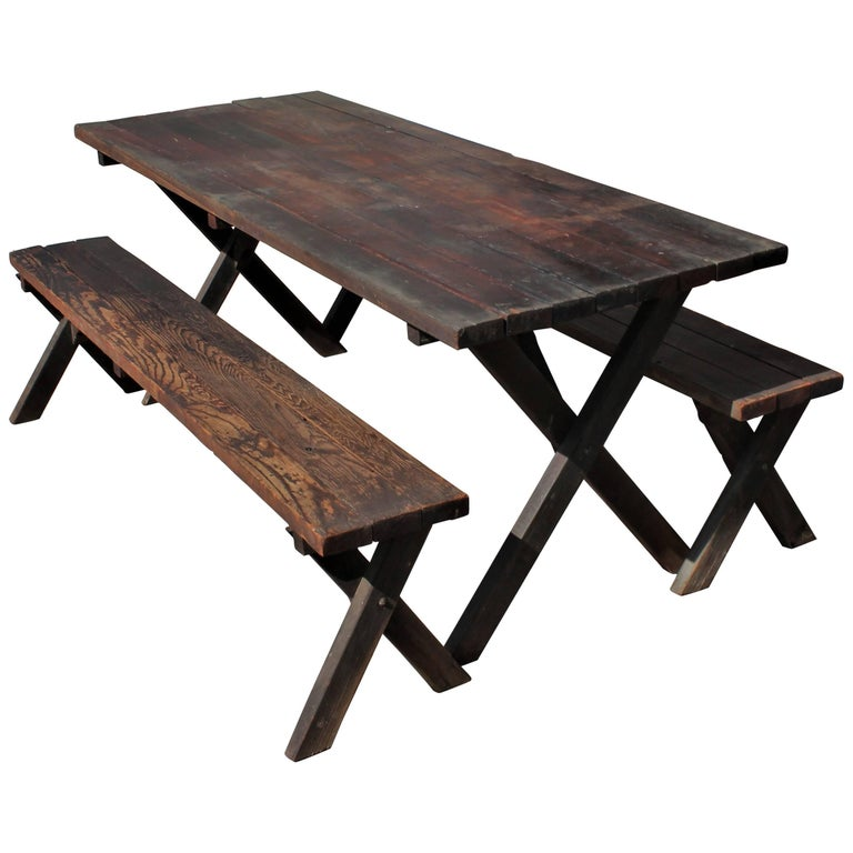 Rustic Picnic Table and Matching Benches For Sale