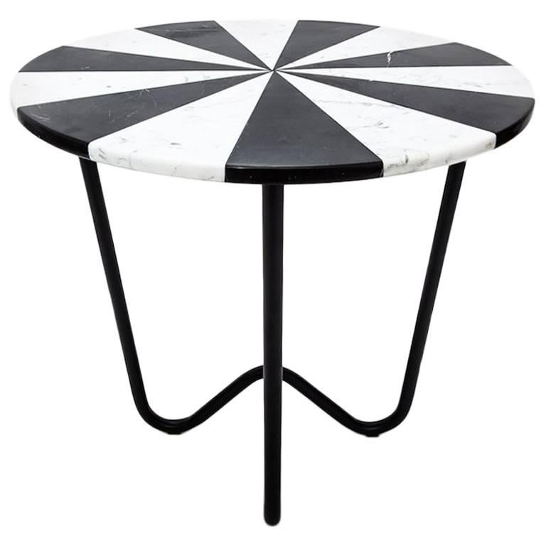 Jasmine Pizza Side Table End Table in Black Marble and White Marble, Metal Base