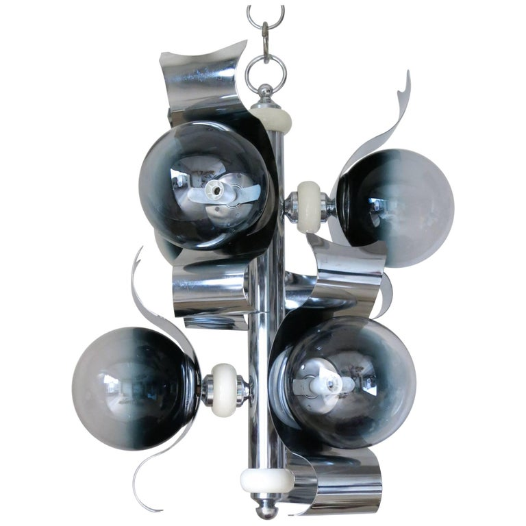 Infused Black and Clear Globe Chandelier by Sciolari