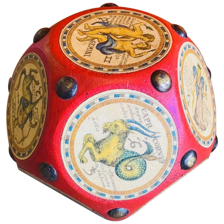 Italian Leather and Wood Zodiac Signs Dodecahedron Paperweight  For Sale