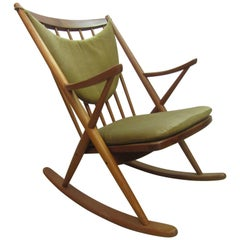 Teak Rocking Chair by Frank Reenskaug for Bramin Mobler Denmark