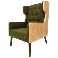 Felt Chair Armchair in American Walnut and Green Felt