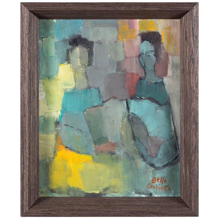 """Abstract Figures"" Oil Painting by Belle Golinko For Sale"