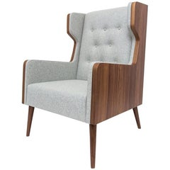 Felt Chair Armchair in American Walnut and Grey Felt