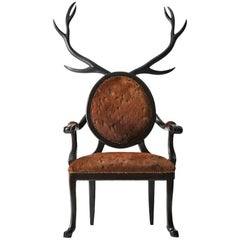 Antler Deer Chair Armchair in Lacquered Wood and Leather