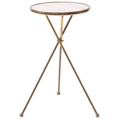 Alabaster and Brass Italian Tripod Side Table
