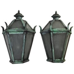 Large Pair of Solid Brass Wall Hanging Lanterns