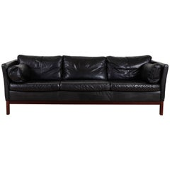 Danish Black Leather Sofa by Mogens Hansen