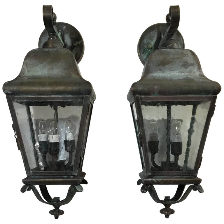 Pair of Handcrafted Solid Brass Wall Lanterns