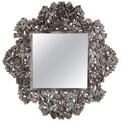 Vintage Grey-Painted Cast-Resin Mirror by Tony Duquette