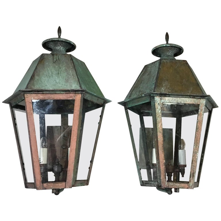 Pair of Handcrafted Brass Wall Lanterns
