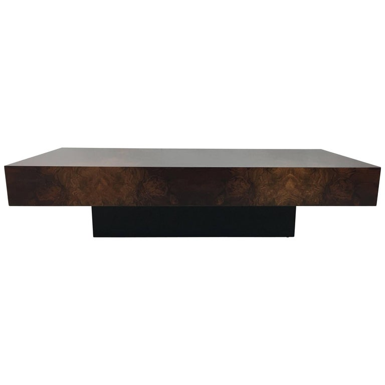 Italian Bookmatched Burl Veneer Coffee Table For Sale