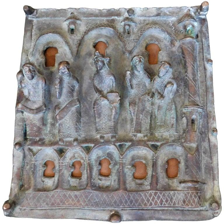 "19th Century Italian Bronze Church Door Panel ""Jesus and Diciples"" Ortisei Italy"