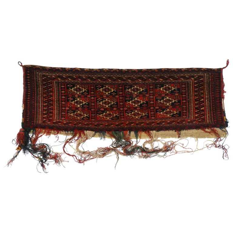 Antique Afghan Turkoman Turkmen Torba Bag, Wall Hanging, Tribal Textile Tapestry For Sale