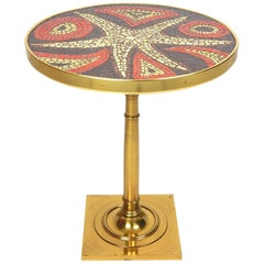 Midcentury Mosaic Tile Modernist Art Top Brass Side Table