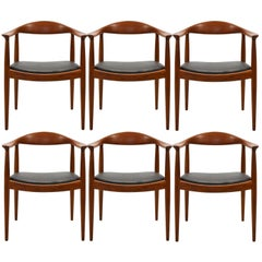 Set of Seven Early Hans Wegner for Johannes Hansen JH-503 Chairs in Teak