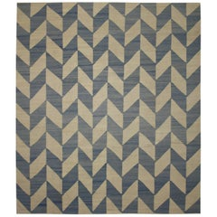 Vintage Afghan Kilim Area Rug with Herringbone Pattern and Coastal Style