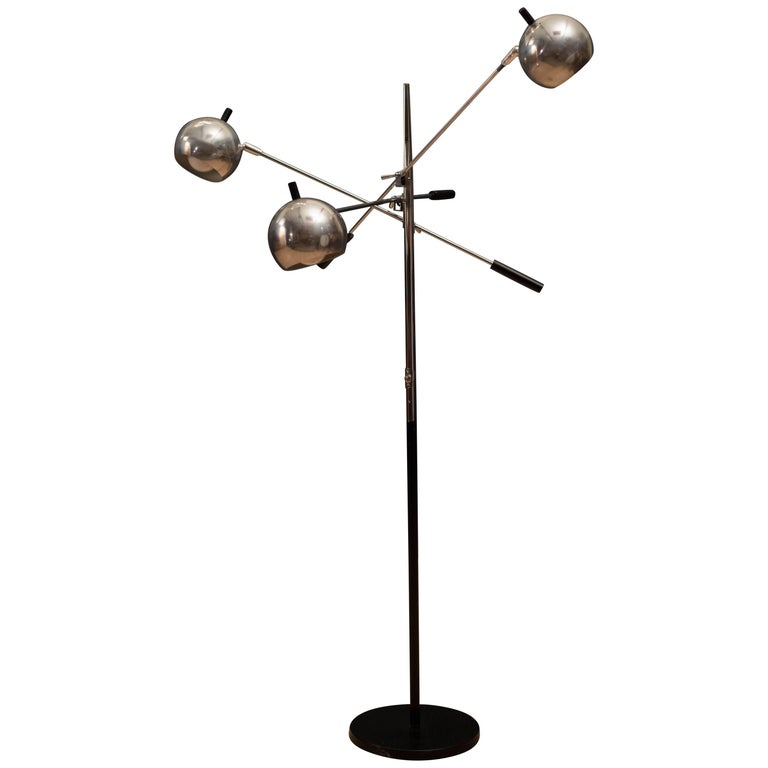 Vintage Triennale Adjustable Chrome Floor Lamp by Robert Sonneman