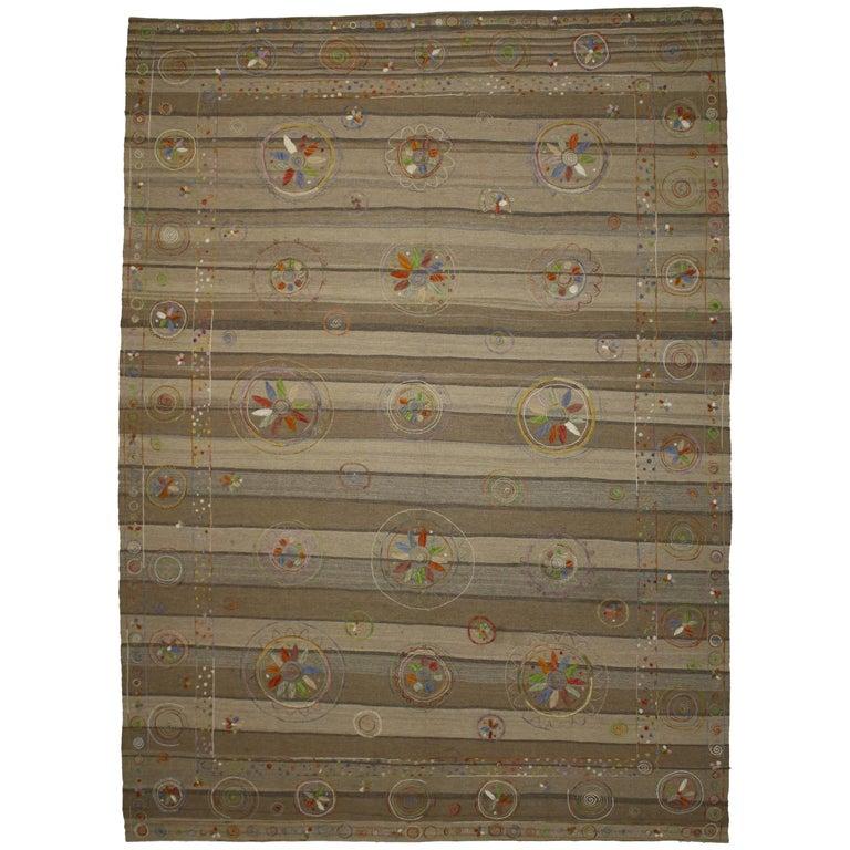 Vintage Suzani Kilim Rug with Embroidered Bohemian Style