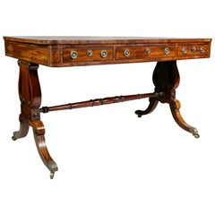 Fine Regency Mahogany and Ebony Inlaid Writing Table