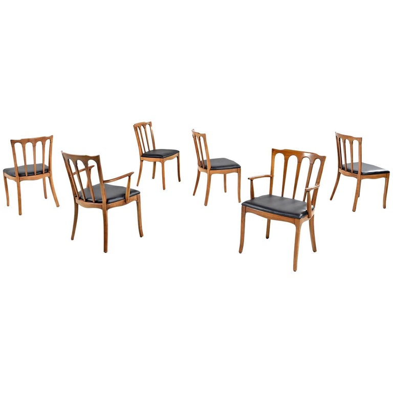 "Set of Six Solid Walnut Black Vinyl Seat ""Horizon"" by Thomasville Dining Chairs"