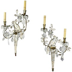 Pair of Rock Crystal and Glass Wall Sconces of Parrots by Bagues