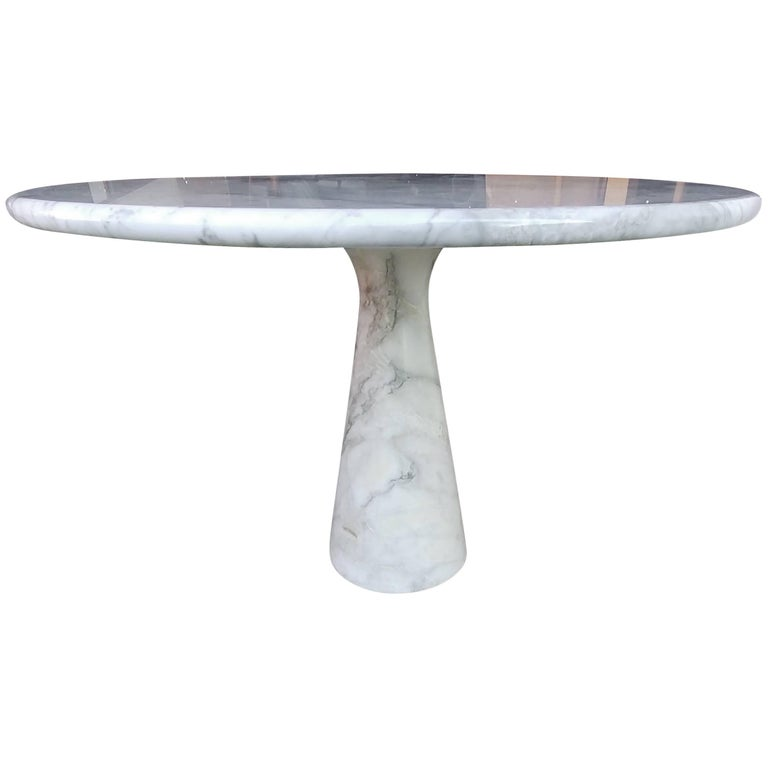 Angelo Mangiarotti Round Carrara Marble Dining Table For Sale