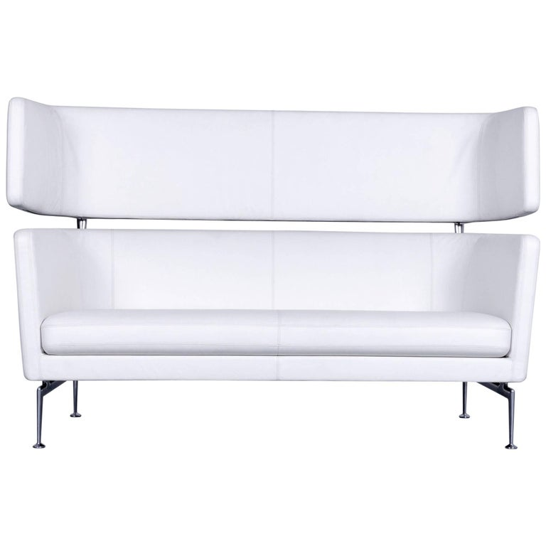 Vitra Suita Leather Sofa White Two-Seat Couch