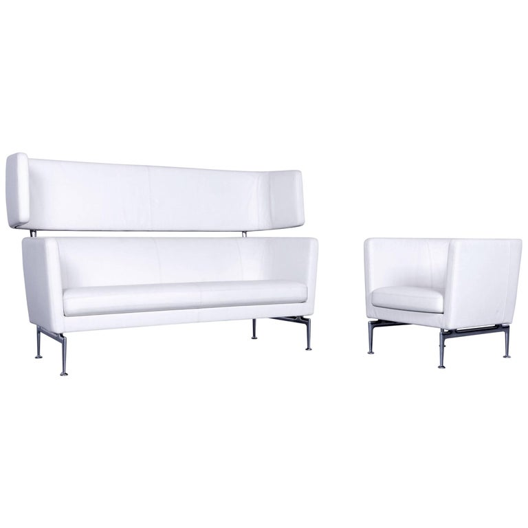 Vitra Suita Leather Sofa Set White Two-Seat and Armchair