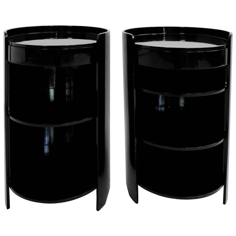 Azucena, Caccia Dominioni, Black Lacquered Pair of Bed Side Tables Mod. Casaccia For Sale
