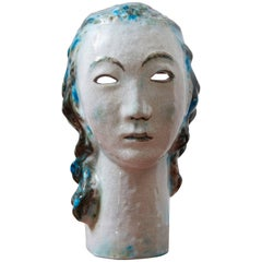 Unique Ceramic Portret Buste, Girl with Blue Hair by Erwin Spuler 1930s, Germany