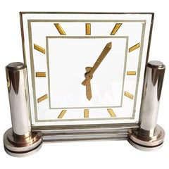 Large 1930s Modernist French Mirror Clock by Marti