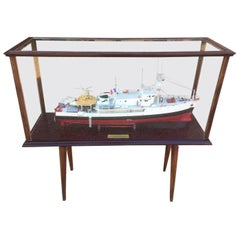French Captain Cousteau Ocean Research Ship Model under Plexiglass, 1950s