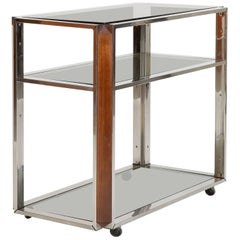 Willy Rizzo Attr. Bar Cart Chrome 1970s
