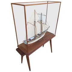 """Sailing Ship Model Called """"L'étoile"""" under Glass Protection, 1950s"""