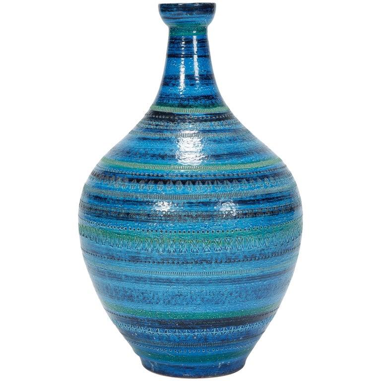 """Huge Aldo Londi """"Rimini Blu"""" Vase Bitossi, 1960s"""