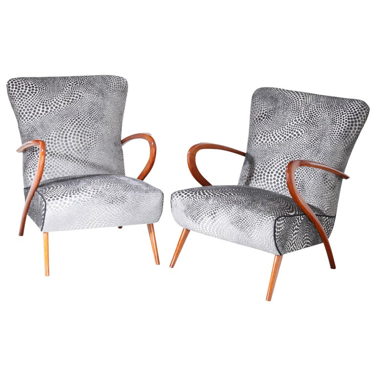 Lounge Chairs in the Style of Guglielmo Ulrich, Italy, Mid-20th Century
