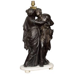Spelter Lamp of Two Figures Embracing