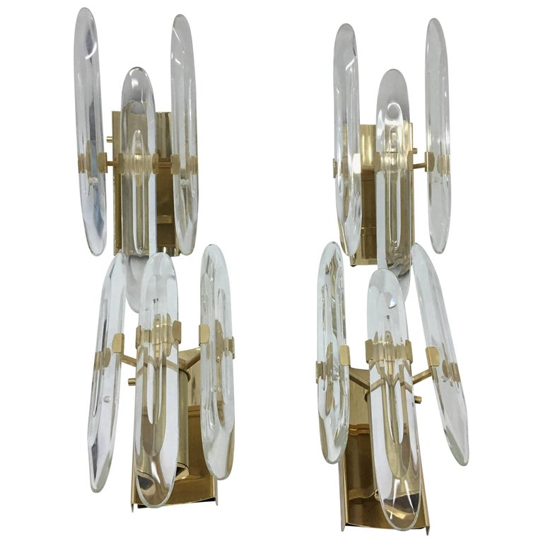 Gaetano Sciolari Four Mid-Century Modern Brass and Glass Wall Sconces 1960