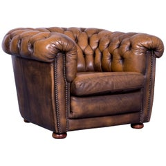 Chesterfield Leather Armchair Brown One-Seat