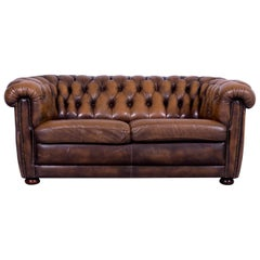Chesterfield Leather Sofa Brown Two-Seat Couch