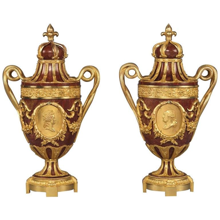 Pair of Gilt-Bronze Mounted Jaspe Rouge de Sicile Urns