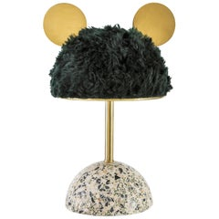 21st Century Minos Table Lamp in Green Mohair, Terrazzo and Polished Brass